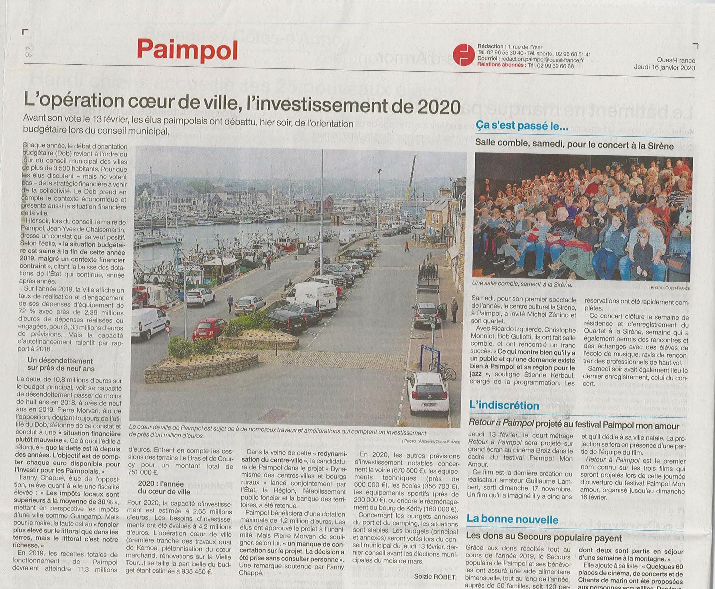 L''opération cœur de ville, l''investissement de 2020