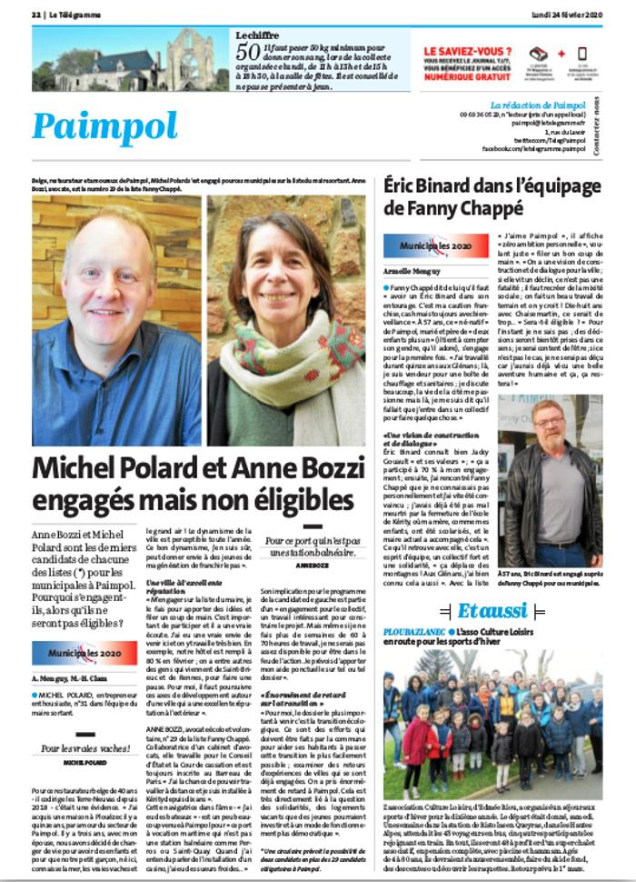 Michel Polard et Anne Bozzi engagés mais non éligibles 0